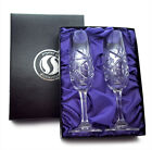 BOXED CHAMPAGNE FLUTES HAND CUT CRYSTAL GLASS Perfect Wedding Gift TEXT ENGRAVED