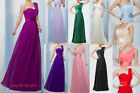 One Shoulder Long Wedding Bridesmaid Prom Ball Evening Chiffon Dress Formal 6-26
