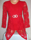 GIRLS RED LACE LAYER DIP HEM DIAMONTE EVENING PARTY TOP & LEGGING SET
