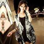 Womens Tie-Dye Chiffon Poncho Shawl Coat Cardigan 3/4 Sleeve Shirt Blouse Tops