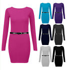 New Womens Belted Bodycon Dress Ladies Long Sleeve Jersey T Shirt Top Size 6-14