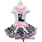 Light Pink Cowgirl Cow Pettiskirt Boots White Short Sleeves Top Party Dress 1-7Y