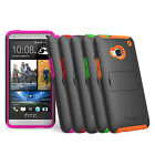 HTC One M7 Protective Hybrid Impact Case Cover w/ Kickstand Stand Multicolor