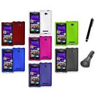 For HTC Windows Phone 8X Color Hard Snap-On Rubberized Case Cover+Charger+Pen