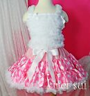 Pink Minnie Mouse Pettiskirt White Ruffles Top Birthday Party Dress 1-7Y E7WS67