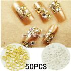 50pcs 4mm Circle Dangle Stud Acrylic UV Gel Crafts Charms Nail Art 3D Decoration