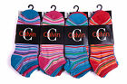 L63 LADIES 12pr MULTI COLOUR FUNKY RETRO STRIPE TRAINER SOCKS GIRLS WOMENS SOCKS