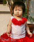 White Tops Pettitop Red Rosettes 4 Pettiskirt 1-10Y D02