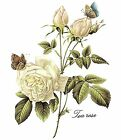 White Tea Rose Butterfly Bouquet Flower Select Size Waterslide Ceramic Decals Bx image
