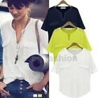 Womens V-Neck Batwing Short Sleeve Oversize Loose Tee Shirt Tops Blouse UK 8-20