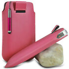 LIGHT PINK POUCH PULL TAB CASE W/ RETRACTABLE STYLUS PEN FOR VARIOUS PHONES