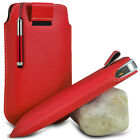 RED POUCH PULL TAB CASE COVER W/ RETRACTABLE STYLUS PEN FOR VARIOUS PHONES