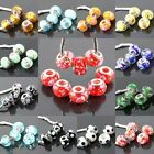 Colorful Murano Lampwork Glass European Large Hole Charm Beads Fit Bracelet