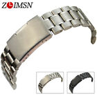 18mm 20mm 22mm 24mm NEW PURE SOLID HEAVY SS CURVED END Watch Band Strap Bracelet