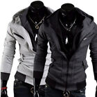 Mens Gray Slim Fit Double Zipper Hoodies Casual Coat Jacket Cardigan 2 colors