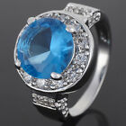 7 Colors Women Jewelry Round Cut Stone Wedding Gift Gemstone Ring Size 6/7/8
