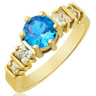 Wedding Round Swarovski Elements 18k Yellow Gold Plated Cocktail Ring Size 6/7/8