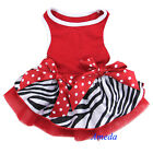 Xmas Red Zebra Polka Dots Bow Small Tutu Pet Dog Clothes Party Dress XS-L