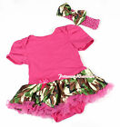 Toddler Hot Pink Bodysuit Jumpsuit Romper Camouflage Camo Girl Baby Dress NB-12M