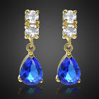 Fashion Jewelry Lady Pear Cut Yellow Gold Plated Drop Stud Earring