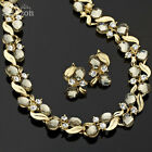 Wedding Party Jewelry Oval 18K Gold Plated Set Gray Necklace Earring For Dress