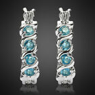 Fashion Jewelry Lady Blue Hedged Hoop White Gold Plated Earrings New