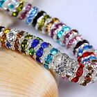100Pcs Silver Plated Crystal Rhinestone Rondle Spacer Beads 6mm