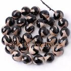 8MM 10MM 12MM 14MM ROUND SHAPE FACETED BANDED AGATE GEMSTONE BEADS STRAND 15""