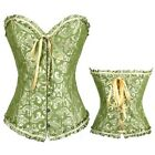 Green Satin Vintage Lace Up Boned Brocade Pattern Corset Basques Top/ G-string