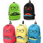 Fashion men women lady Mustache Canvas eyeball School Book Campus Bag Backpack &