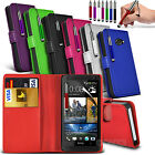 Leather Wallet Flip Skin Case Cover, SP & Stylus Pen For HTC M7 One