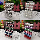 New Fashion Lot 6-12mm Mixed Colors Imitated Pearl Beads Studs Pin Earrings