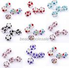 5Pcs Charm Crystal Football Round Spacer Beads Big Hole For European Bracelet