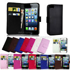 Leather Flip Wallet Case Cover For Apple iPhone 5