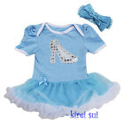 Baby Cinderella Shoes Blue White Pettiskirt Bodysuit Costume Party Dress 0-18M