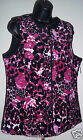 Breckenridge Ladies Pink & Black Print Velour Quilted Vest NWT Indoors Outdoors