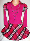 GIRLS BRIGHT PINK MIX TARTAN PUFFBALL WINTER PARTY DRESS with NECKLACE