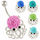 swarovski belly ring navel bars dangle octopus button jewellery piercing 9HJO