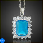 Costume Jewellery Emerald Cut stone white gold plated Pendant free Necklace