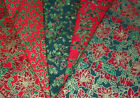 "Fancy Gold Trim Christmas Print 100% Cotton fabric 5 designs 60"" wide~Quilting"