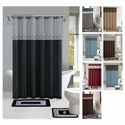 Внешний вид - Contemporary Bath Shower Curtain 15 Pcs Modern Bathroom Rug Mat Contour Hook Set