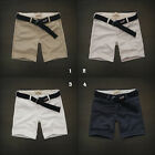 NWT Hollister by Abercrombie Classic Beach Prep Fit Shorts Belt Khaki/White/Navy