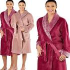 Womens Ladies Winter Warm Cuffs Fleece Dressing Gown Robe Wrap Bathrobe 84320