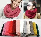 Winter Women Warm Infinity 2 Circle Cable Knit Cowl Neck Long Scarf Shawl New