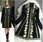 women cashmere wool top quality Gold Line embroidered jacket coat trench parka -