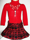GIRLS RED BLACK FAIR ISLE PRINT SKIRT WINTER PARTY DRESS with NECKLACE
