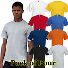 Mens 4 Pack Fruit of the Loom Heavy Short Sleeve Cotton T Shirt-8 tshirt Colours