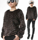 RTBU Punk Rock Gray Leopard Vegan Faux Mink Fur Coat Furry Pullover Sweatshirt
