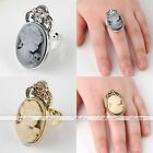 1pc Vintage Crystal Rhinestone Victorian Beauty Lady Cameo Ring US7 Adjustable