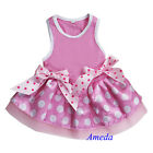 Light Pink White Polka Dots Ribbon Minnie Party Dress Pet Dog Clothes XS S M L